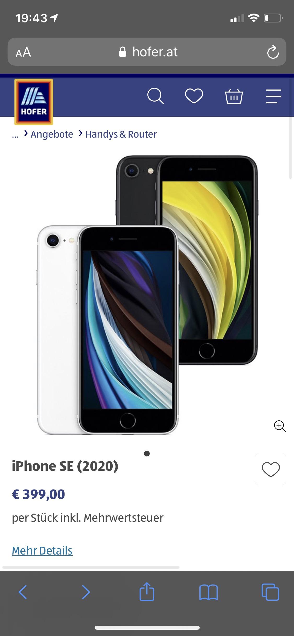 iPhone SE 2020 (64GB) bei Hofer