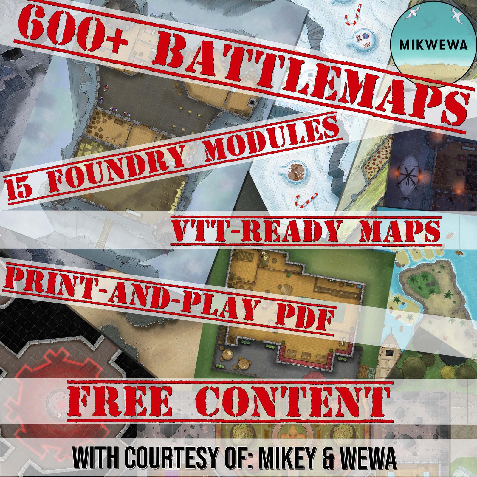 Für Tabletop Rollenspieler: 608 kostenlose Battlemaps. Als Druckbare PDFs, VTT-Ready Images und Foundry Modules