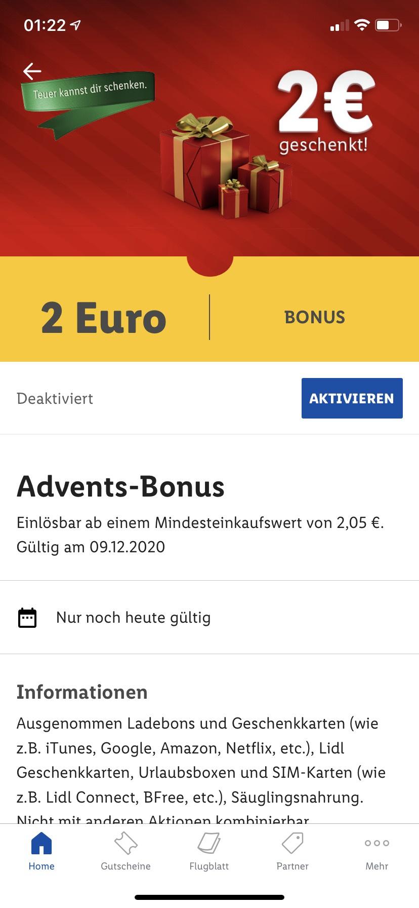 (Lidl App) 2€ Rabatt ab 2,05€