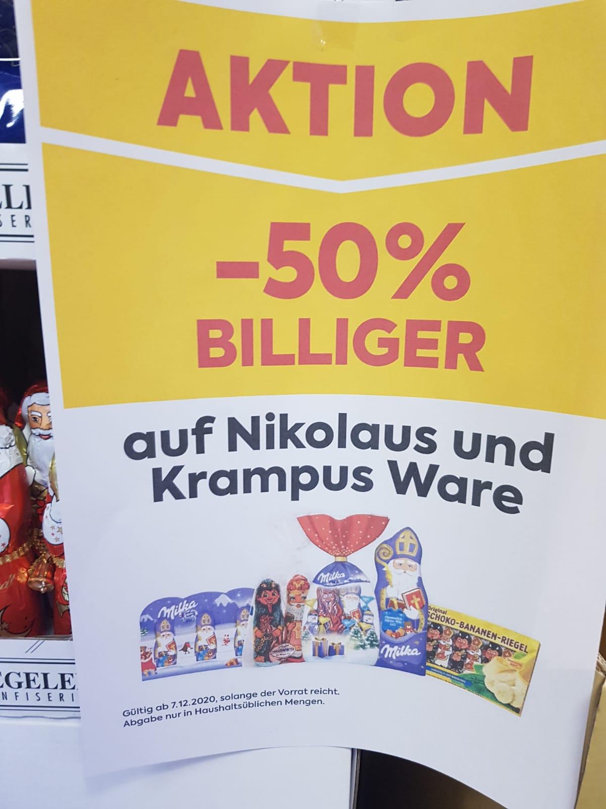50% auf Nikolas und Krampus Ware im Billa (Österreichweit)