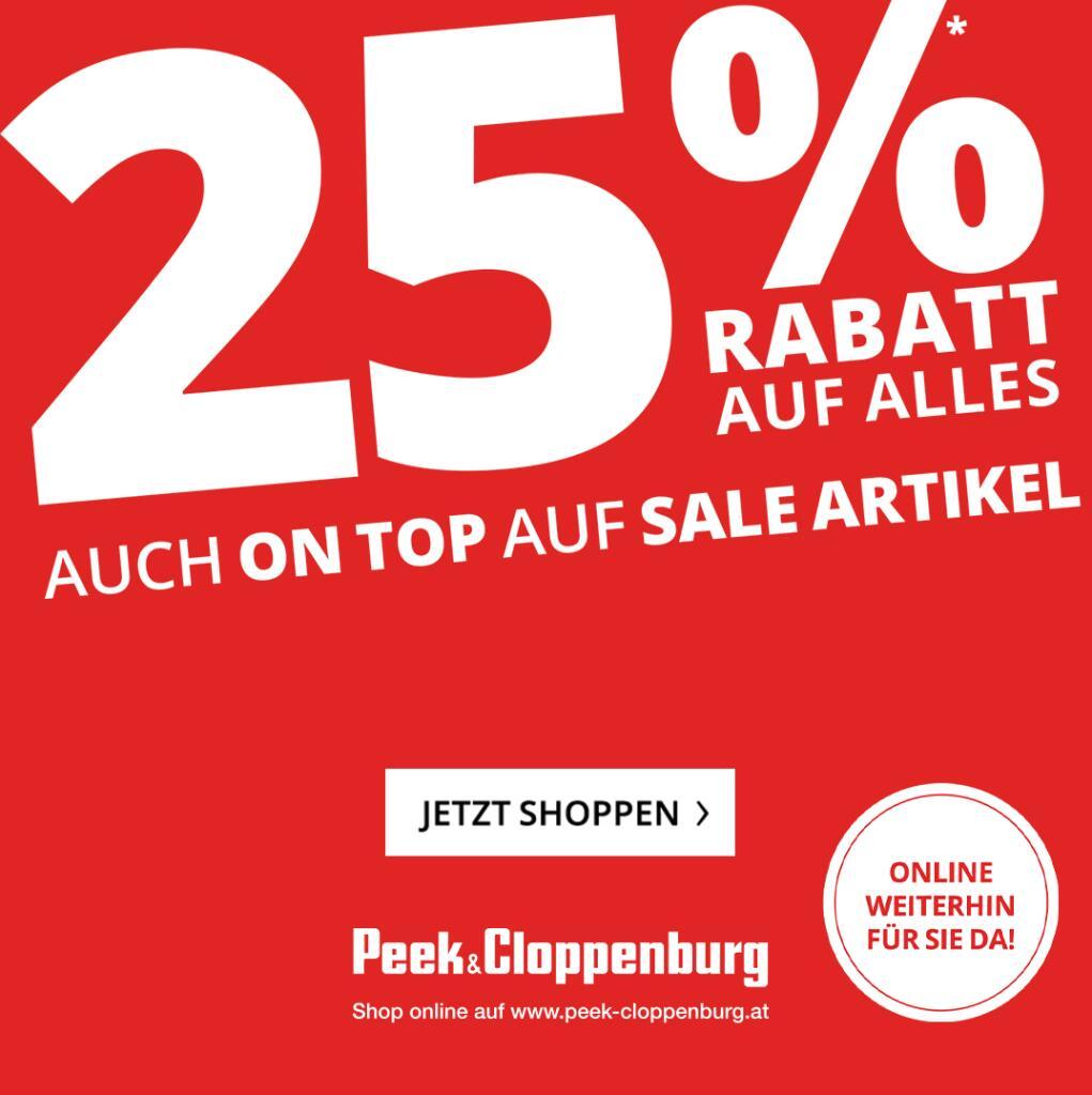 Peek & Cloppenburg: 25% Rabatt auf ALLES inklusive Sale + gratis Versand