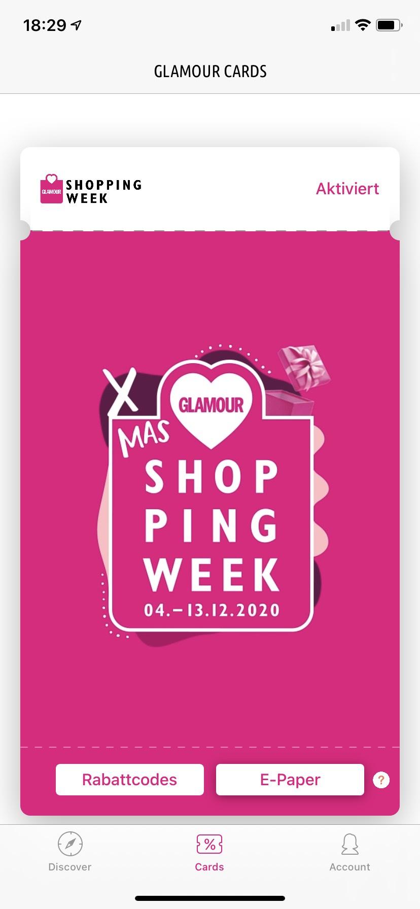 (Freischaltecode) Glamour Shopping-Week 4.-13.12.