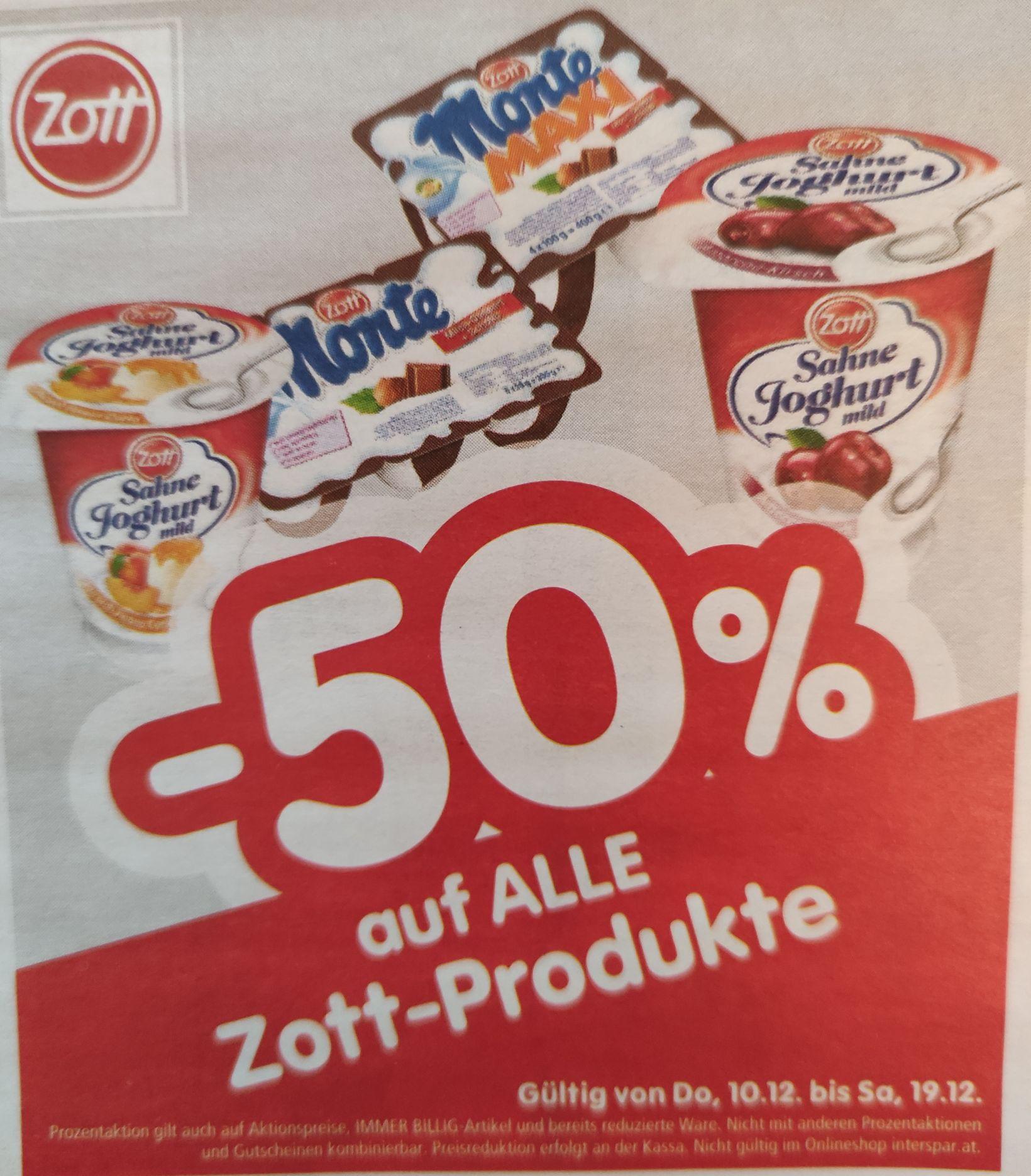 [Interspar/Eurospar] -50% auf Zott Produkte