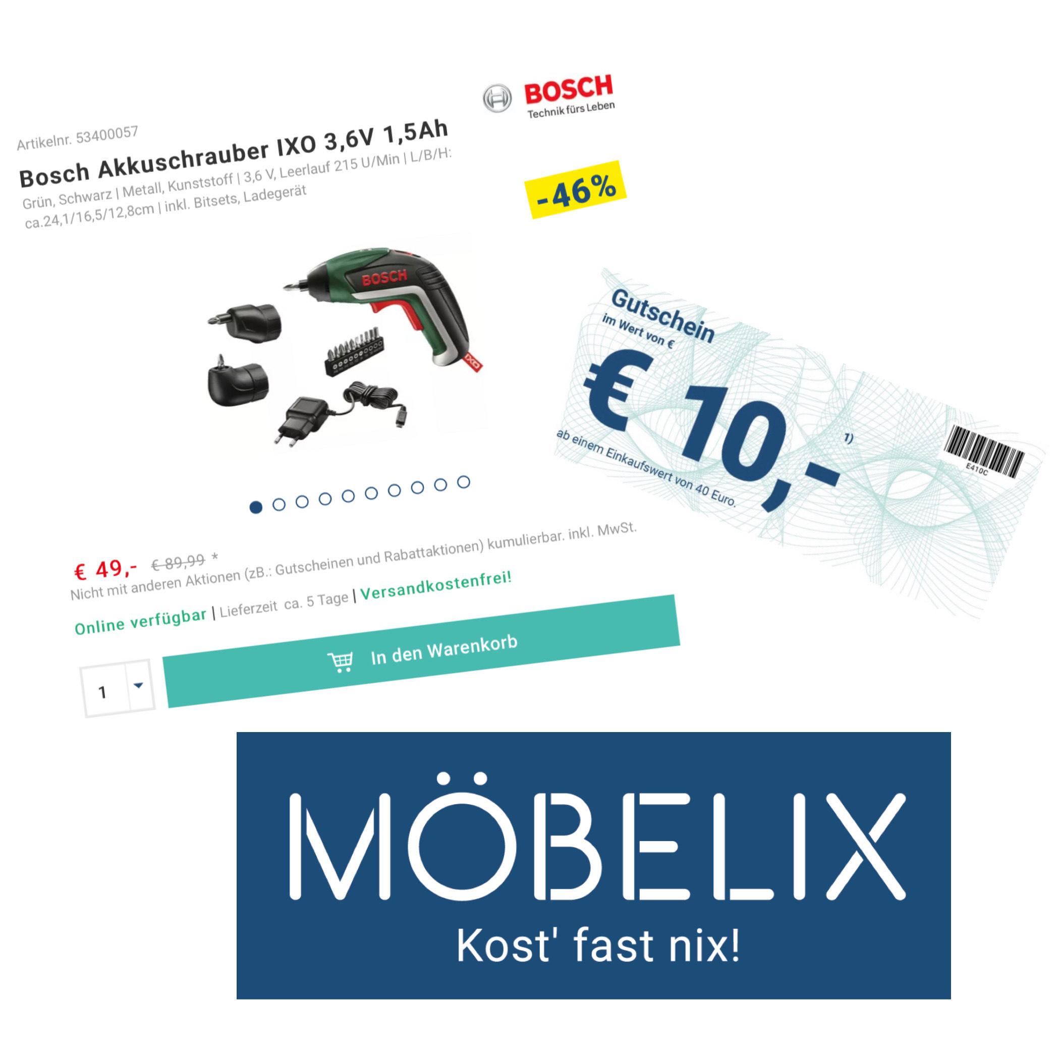 [ Möbelix ] Bosch Akkuschrauber •IXO V Set• mit 2 Aufsätzen & 10 Bits