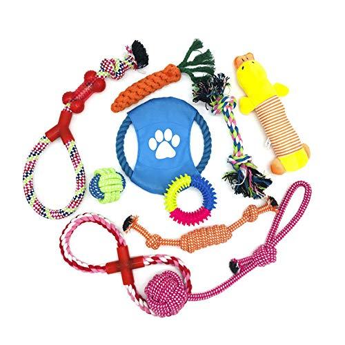 WeFine 10 Stück Hundeseilspielzeug, 100% natürliches Baumwollseil für kleine und mittlere Hunde