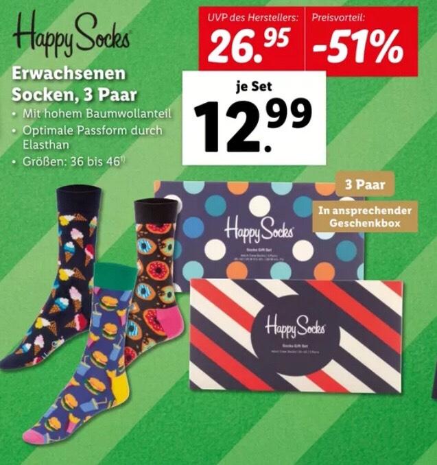 - 51% vom UVP Happy Socks für Erwachsene Geschenkbox mit 3 Paar Socken für 12,99€ bei Lidl ab 21.12.20