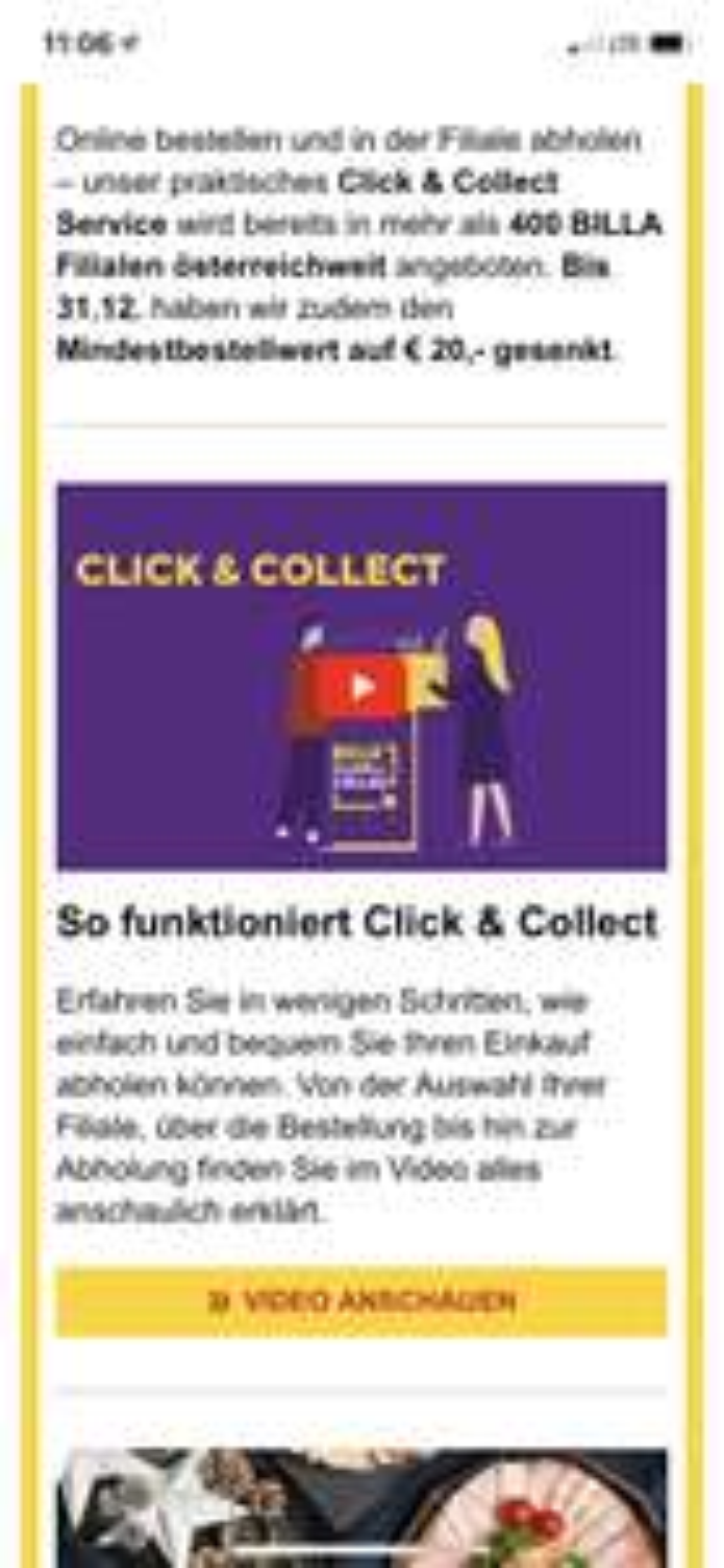 (Billa Infodeal) MBW bei Click & Collect gesenkt