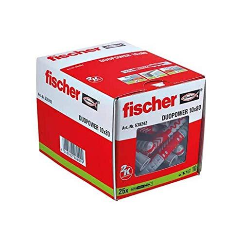 Fischer DUOPOWER 10 x 80-Universaldübel zum Befestigen von Hängeschränken, Wandregalen in Beton, Mauerwerk, Plattenbaustoffen uvm. -25 Stück