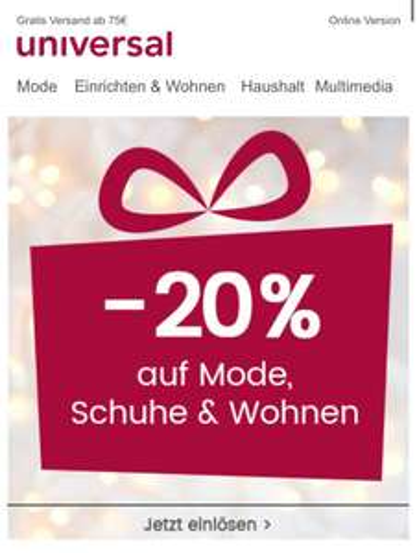 Universal - 20% auf Mode, Schuhe und Wohnen