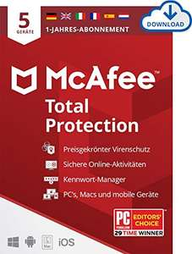 McAfee Total Protection 2021   5 Geräte   1 Jahr   Antivirus Software, Passwort Manager, Multi Geräte,PC/Mac/Android/iOS,Europäische Ausgabe