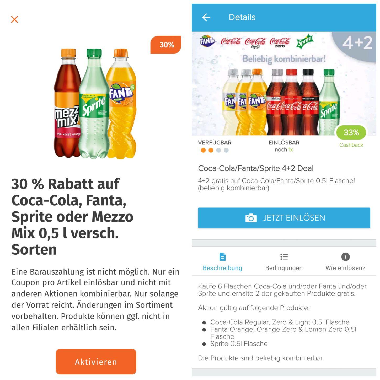 Kombigutschein Cola, Fanta, Sprite (Marktguru+Müller App)