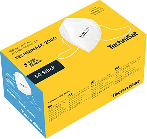 TechniSat TECHNIMASK 2000 CPA-Maske(Mund-und Nasen-Bedeckung / Gesichtsmasken Made in Germany) 50 Stück
