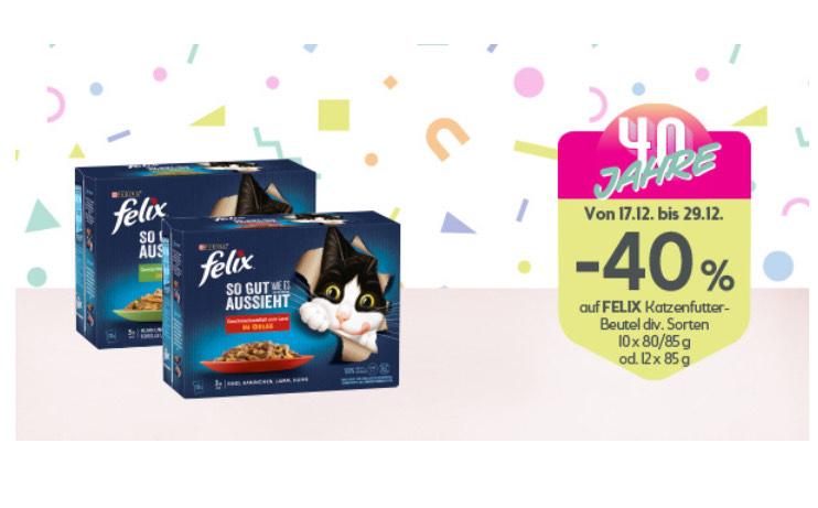 -40% auf FELIX Katzenfutter-Beutel.