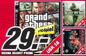 [PS3] GTA 4, Call of Duty 4 und Metal Gear Solid 4 für je 29€