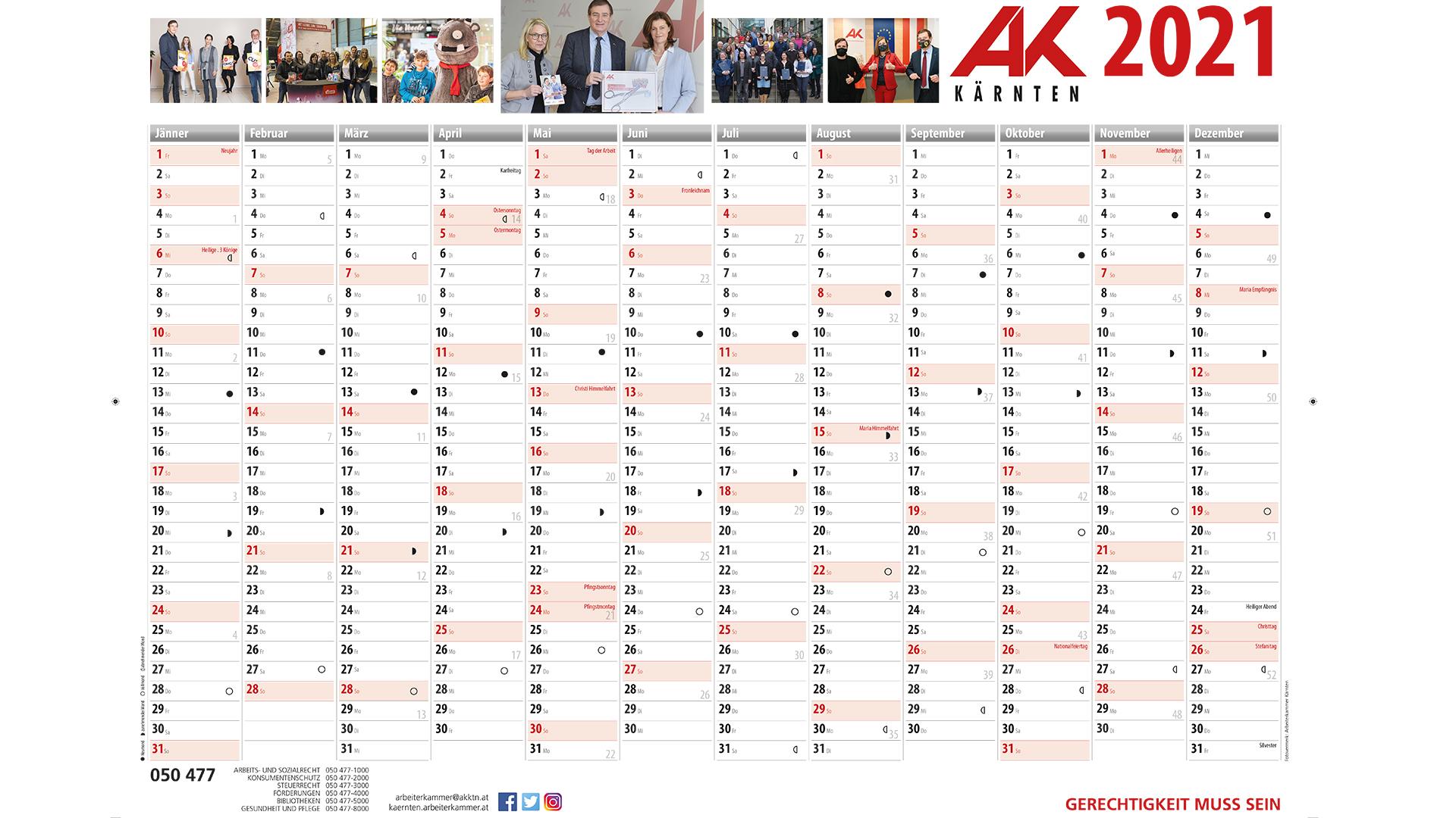 """Kostenloser AK Wandkalender 2021 oder """"Arbeitszeitkalender"""" 2021 inkl. Versand"""