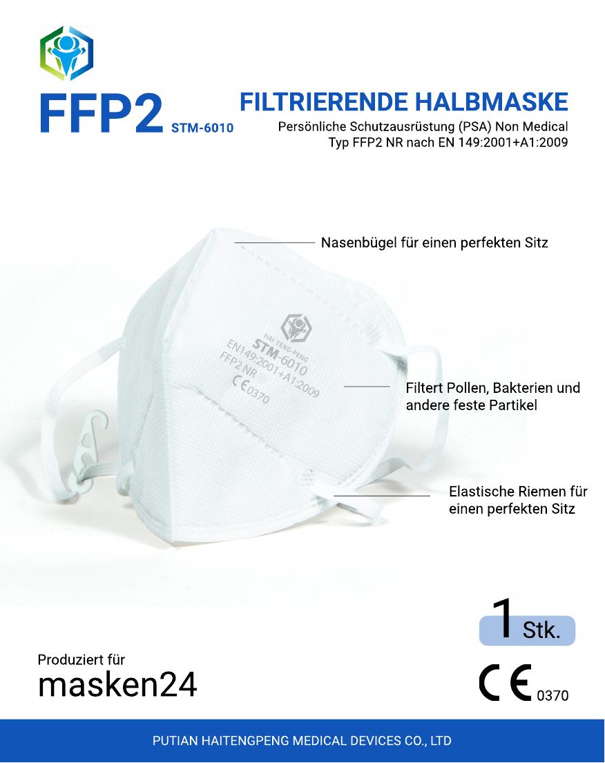 [Masken24] Atemschutzmaske FFP2 NR - CE Zertifiziert, ab EUR 20,-- gratis Versand in Österreich