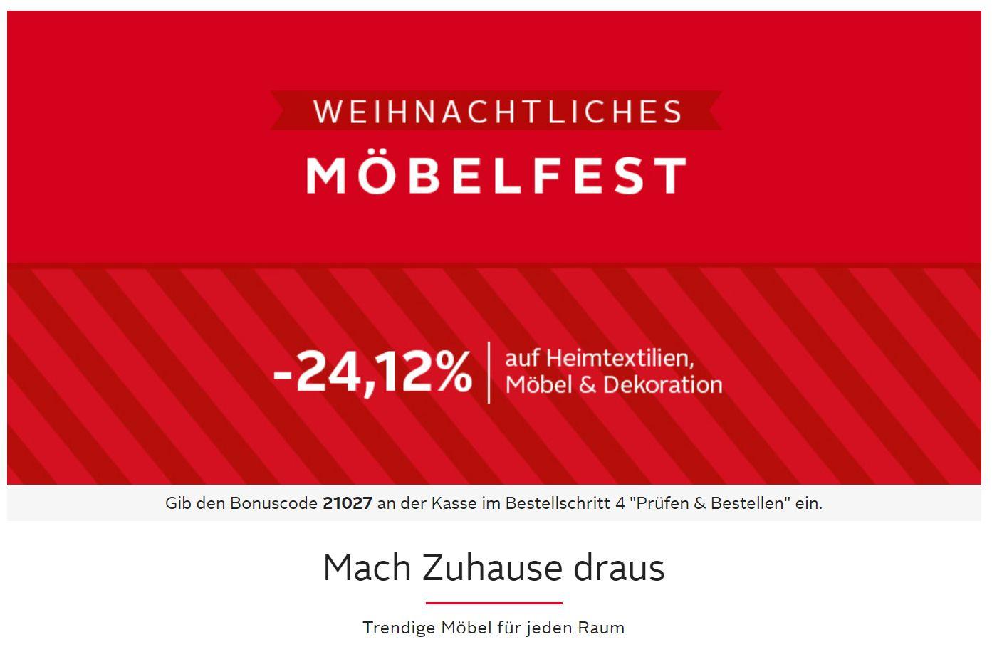 [OTTO]: Möbelfest -24,12% (kombinierbar mit 500 Extra-Pkt. und 20-fach Payback und Cashback)