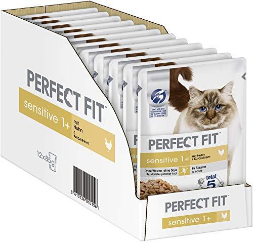 Perfect Fit Sensitive 1+ – Nassfutter für erwachsene, sensible Katzen, 12x85g im Spar-Abo