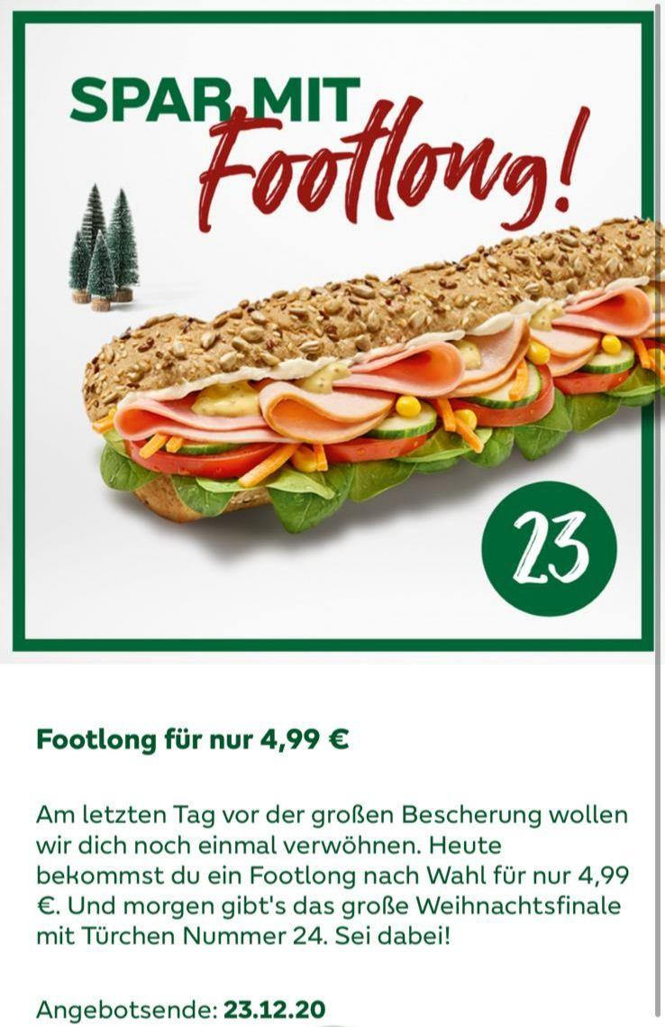 Subway Footlong Sub um 4.99 (23.12 nur)