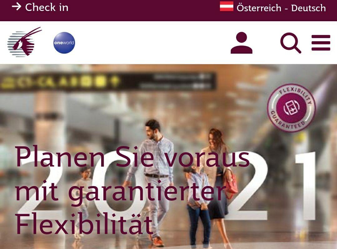 [Qatar airways] Infodeal: Alle Buchungen für 2021 kostenfrei stornierbar