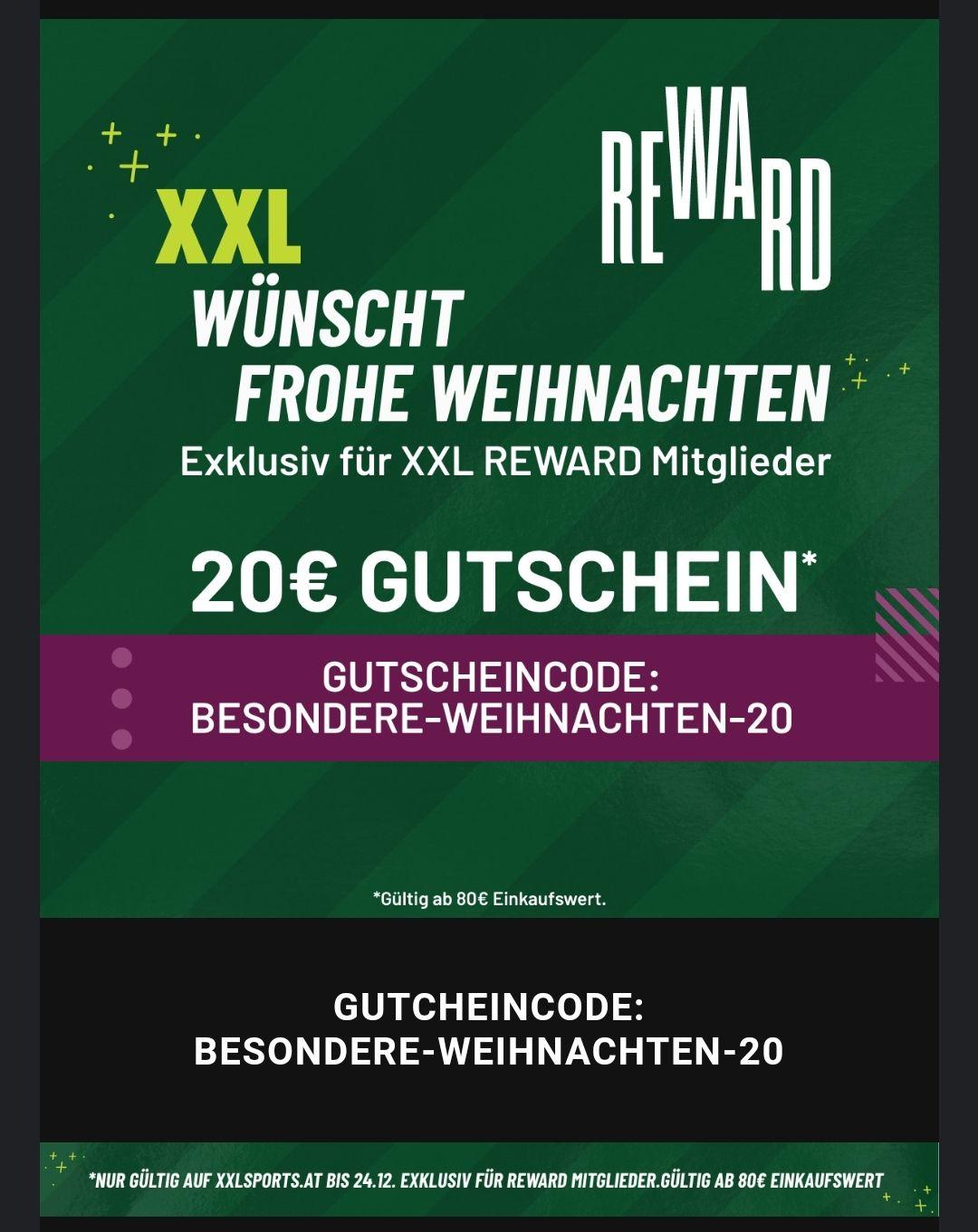 [XXLsports] -20€ ab 80€ Einkaufswert (REWARD)