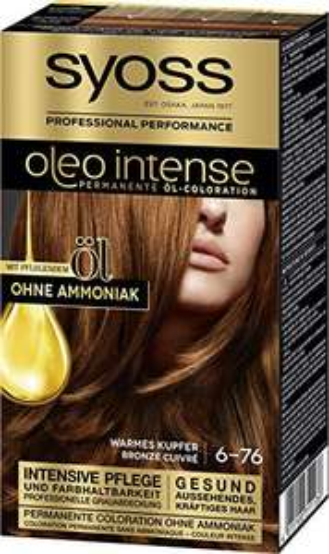 3x SYOSS Oleo Intense Permanente Öl-Coloration 6-76 Warmes Kupfer, mit pflegendem Öl & ohne Ammoniak, (3 x 115 ml)
