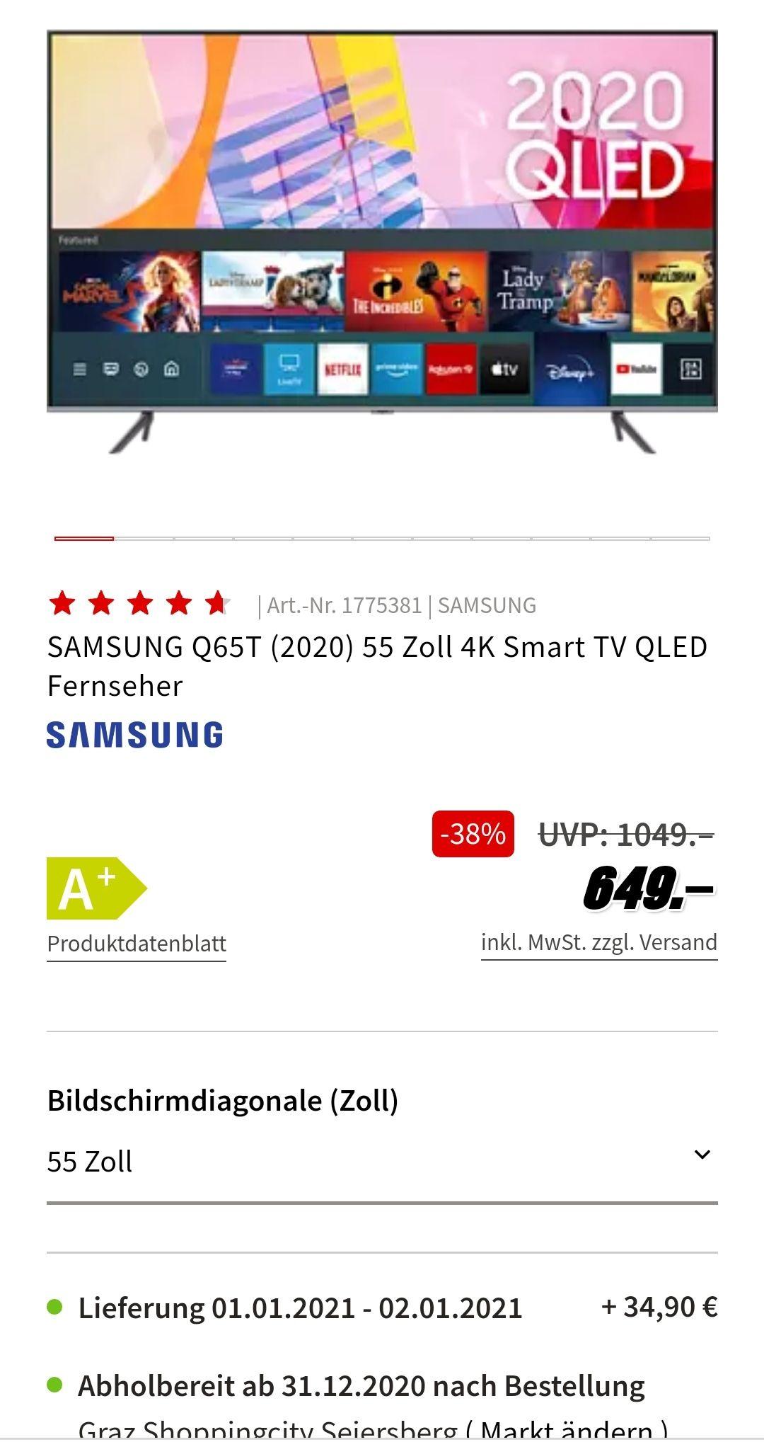 SAMSUNG Q65T (2020) 55 Zoll 4K Smart TV QLED Fernseher