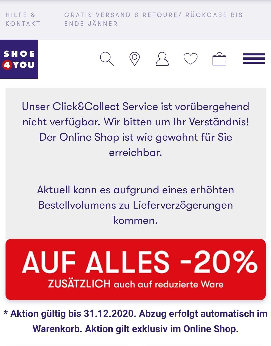 Shoe4you (nur mehr) -20%, dafür diesmal auch auf reduzierte Ware