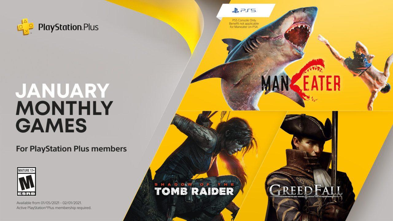 """PS Plus Jänner 2021: """"Greedfall"""", """"Shadow of the Tomb Raider"""" (beide PS4) und """"Maneater"""" ab 5.1. ohne weitere Kosten mit PS Plus"""