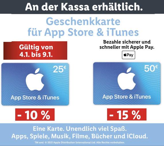 15 % Rabatt auf die € 50,— Geschenkkarte für App Store und iTunes