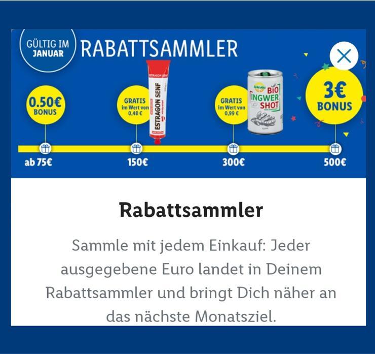 [Lidl] 0,5€ Bonus + Senf gratis + Ingwer Shot gratis + 3 € Bonus mit dem Rabattsammler