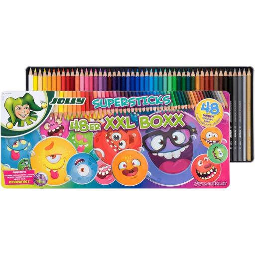 [Libro] Jolly Buntstifte - Supersticks Classic, kinderfest, 48er XXL-Box Metalletui mit Versand um nur 22,99€