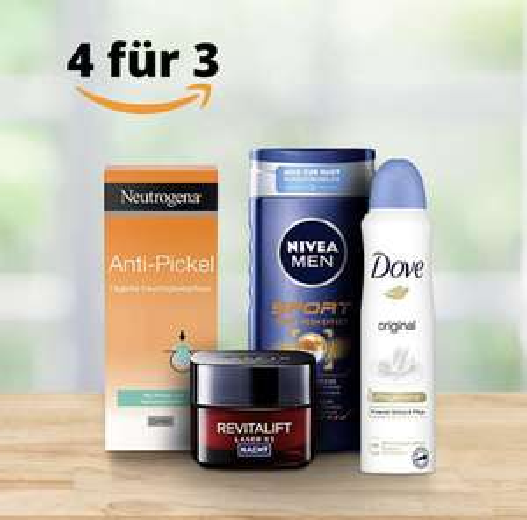 Amazon 4für3 auf Pflegeprodukte