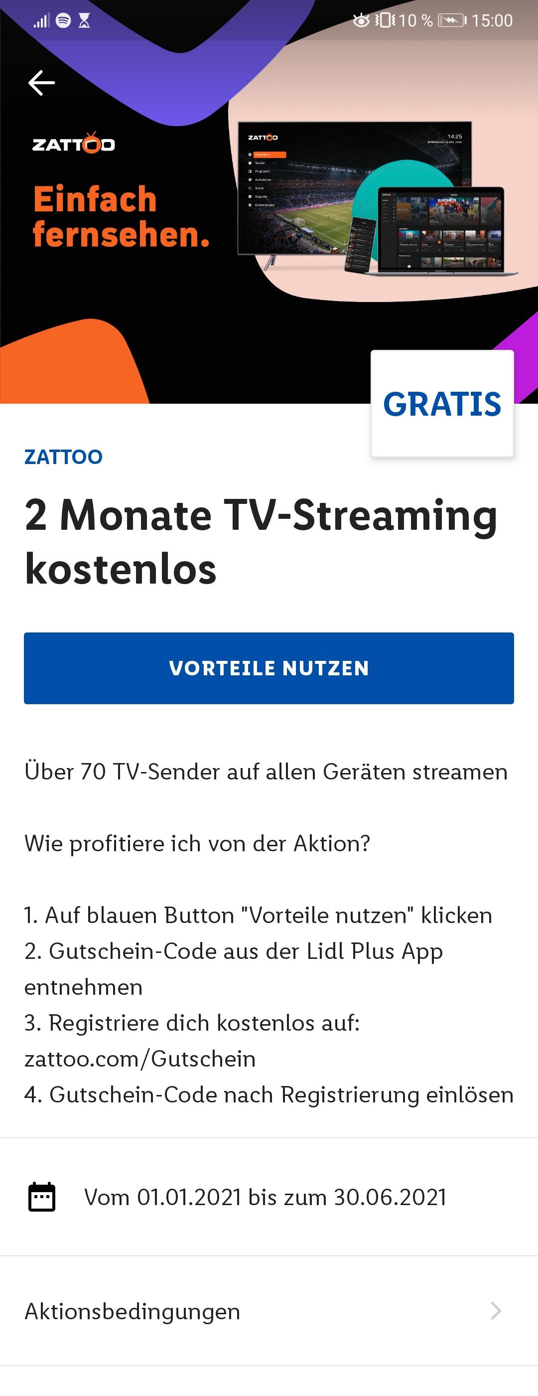 Lidl Plus App: 2 Monate Zattoo Ultimate gratis (TV-Streaming)
