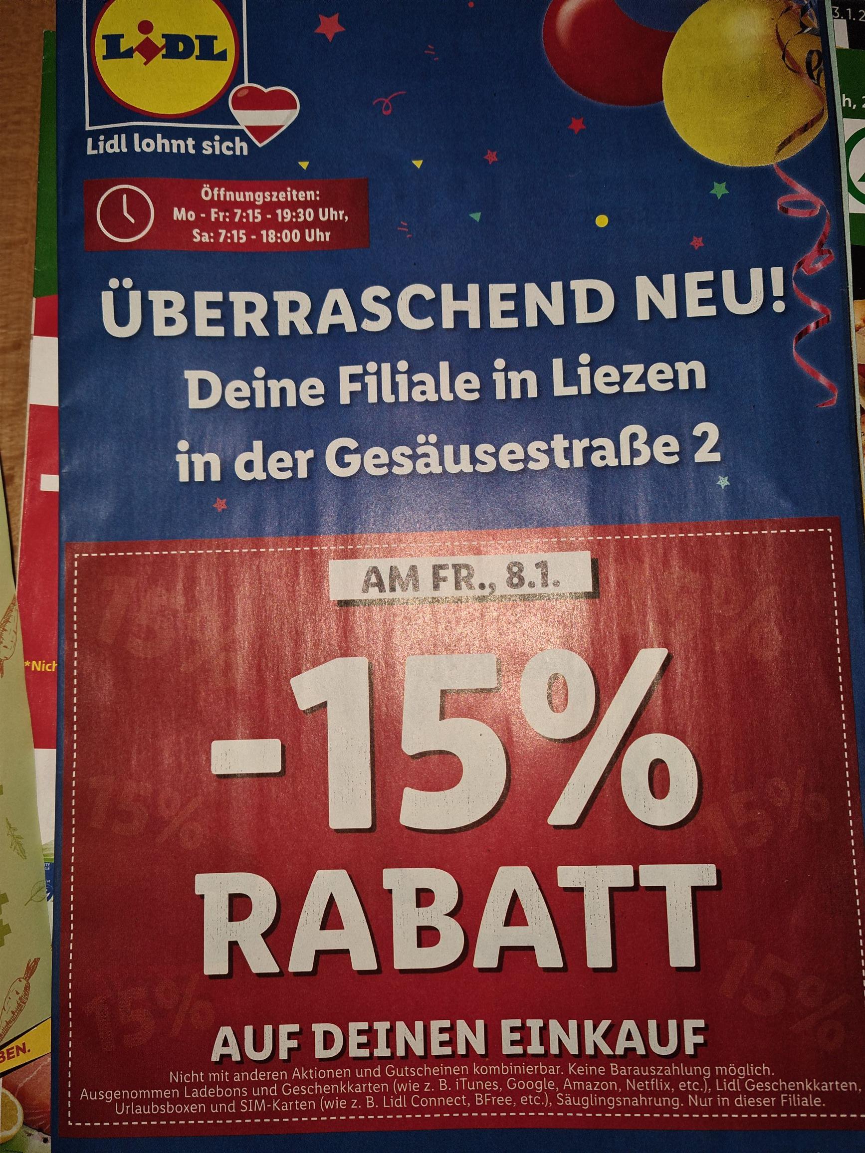 15 Prozent Rabatt bei LIDL Liezen & 1220 Wien