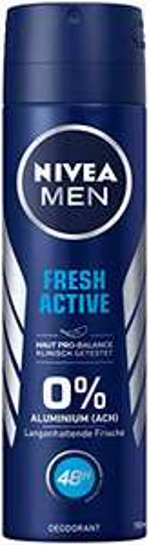 4 × NIVEA Fresh Active Deo Spray (4×150 ml), Deo ohne Aluminium 48h Schutz - Damen oder Herren (verschiedene Sorten)