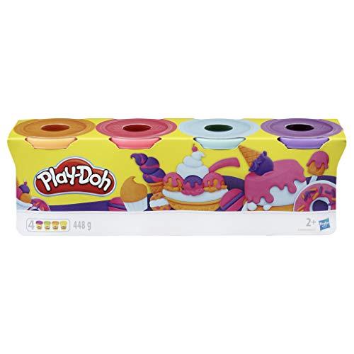 Amazon Prime Play-Doh 4er-Pack Sweet, tolle Farben für Kinder ab 2 Jahren, 112g-Dosen (pink, hellblau, hellorange, lila),
