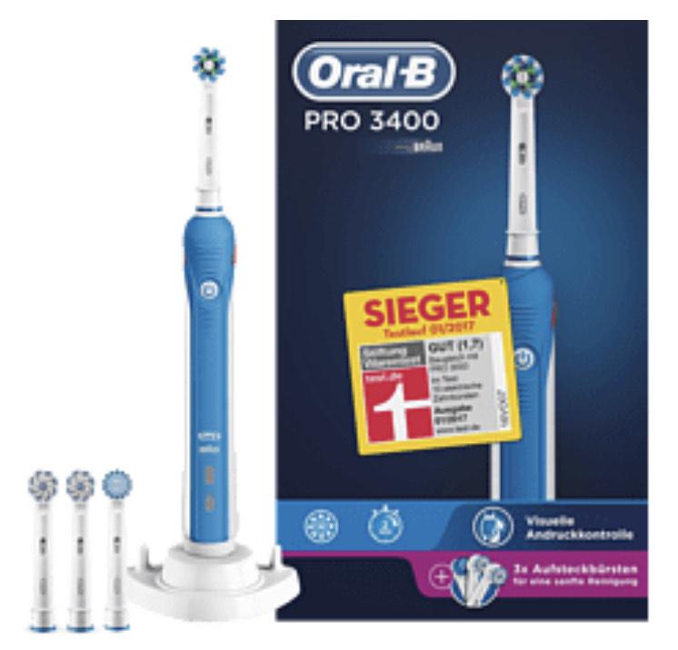 ORAL-B Pro 3400 Elektrische Zahnbürste Blau-Weiß
