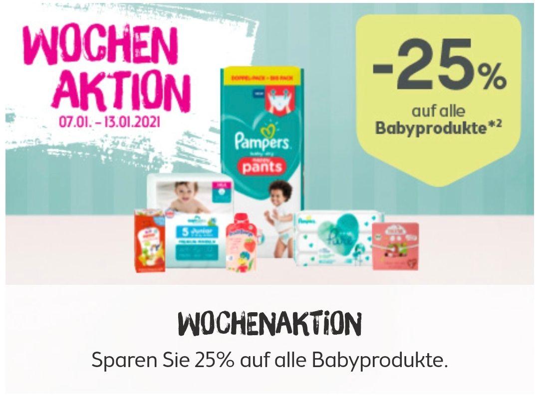 -25% auf Baby Artikel (ausgenommen Tiefpreis oder SALE gekennzeichnete Produkte sowie Säuglingsanfangsnahrung)