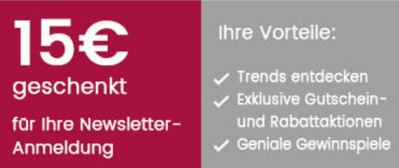Universal Newsletter Anmeldung 15 € Gutschein ab 60 € MBW