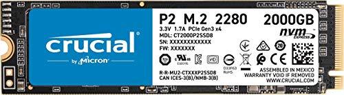 Crucial P2 CT2000P2SSD8 2TB Internes SSD, Bis zu 2400 MB/s (3D NAND, NVMe, PCIe, M.2)