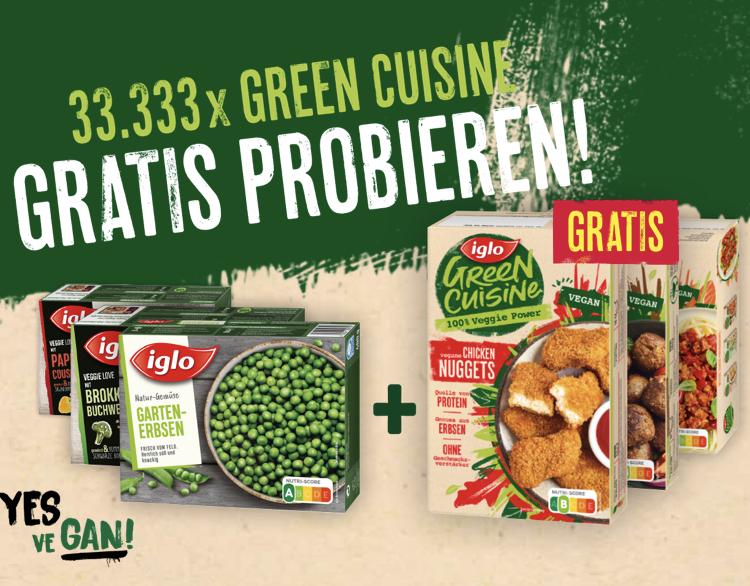 Iglo Gemüse kaufen und Iglo Green Cuisine GRATIS erhalten (Cashback)