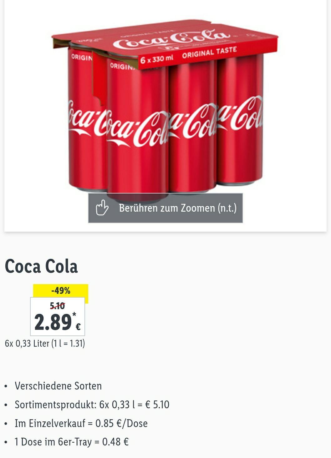 Lidl Super Wochenende - 6er Tray Coca Cola
