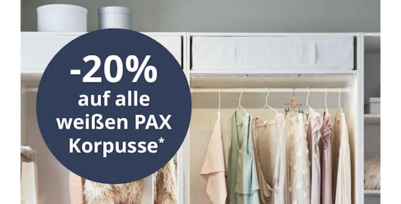 -20% auf alle weißen Pax Korpusse bei Ikea