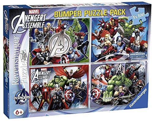 Ravensburger 07076 - Marvel - 4 x 100 Teile Puzzlekoffer für Kinder