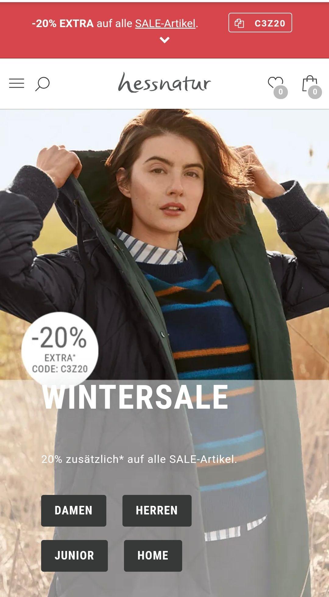 Hessnatur -20% nochmals extra auf Sale Artikel