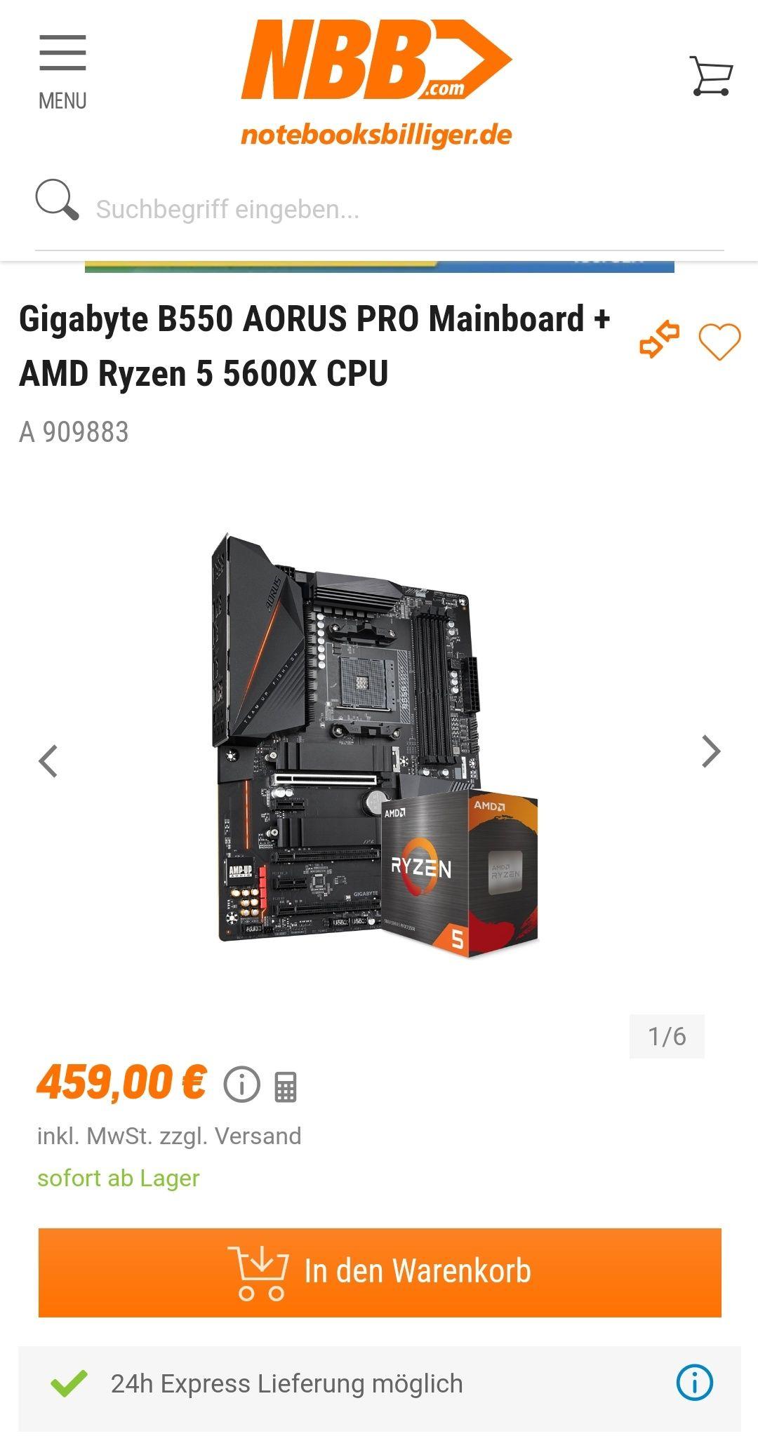 Gigabyte B550 AORUS PRO Mainboard + AMD Ryzen 5 5600X CPU