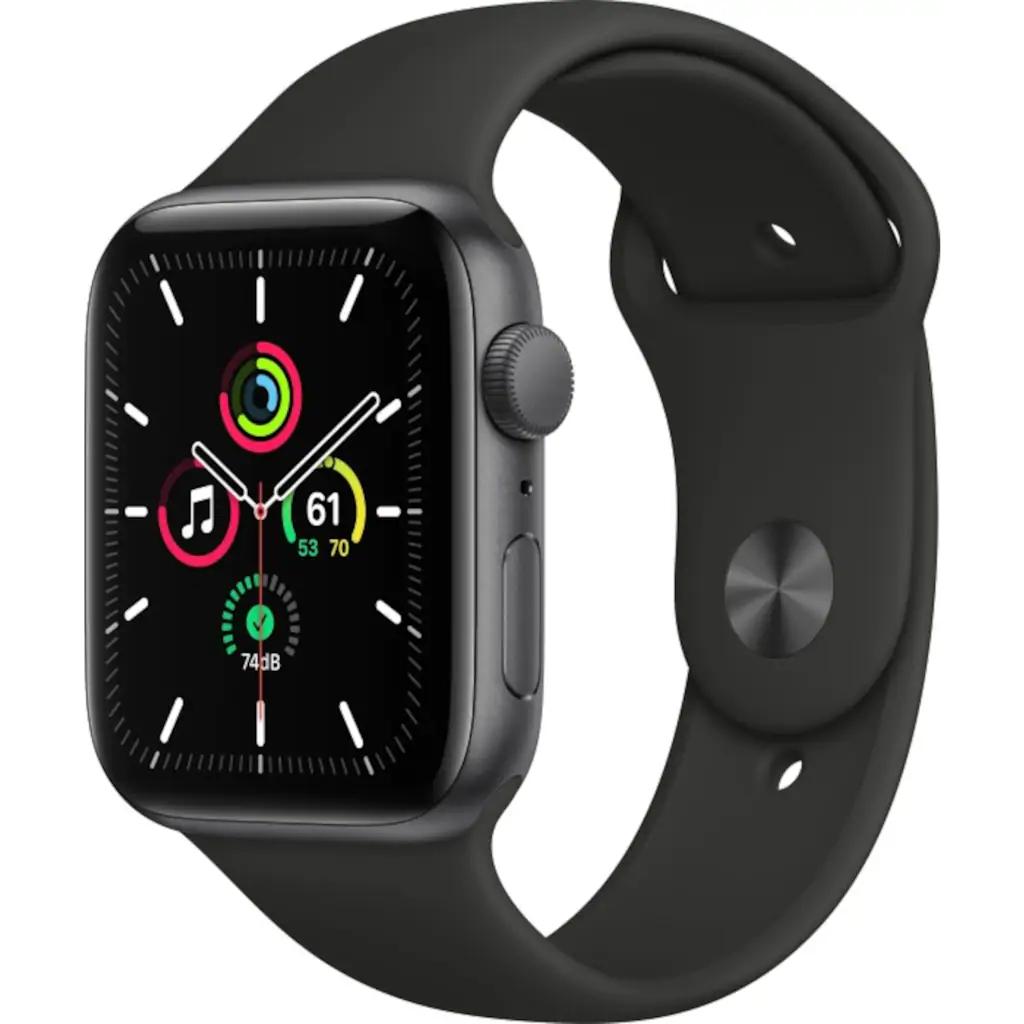 Apple Watch SE 44mm space grau mit Sportarmband in drei verschiedenen Farben