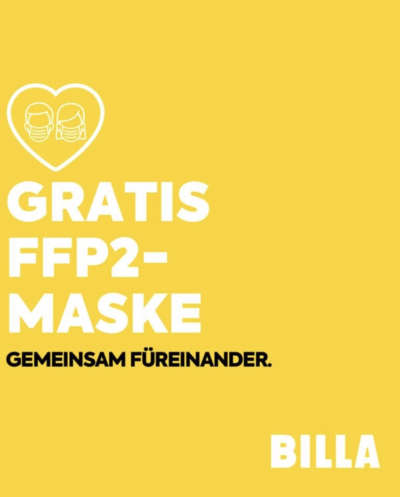 Kostenlose FFP2 Maske bei Billa, Merkur und Penny