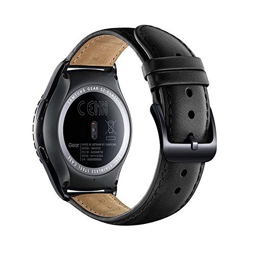 Lederarmband 20mm schwarz für Galaxy Smartwatch Gear S2
